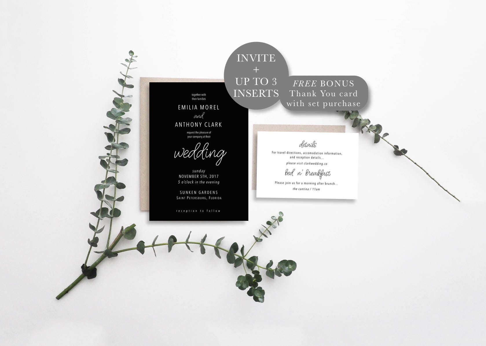 Modern Wedding Invitation Suite, Calligraphy Invitation Set, Classic ...