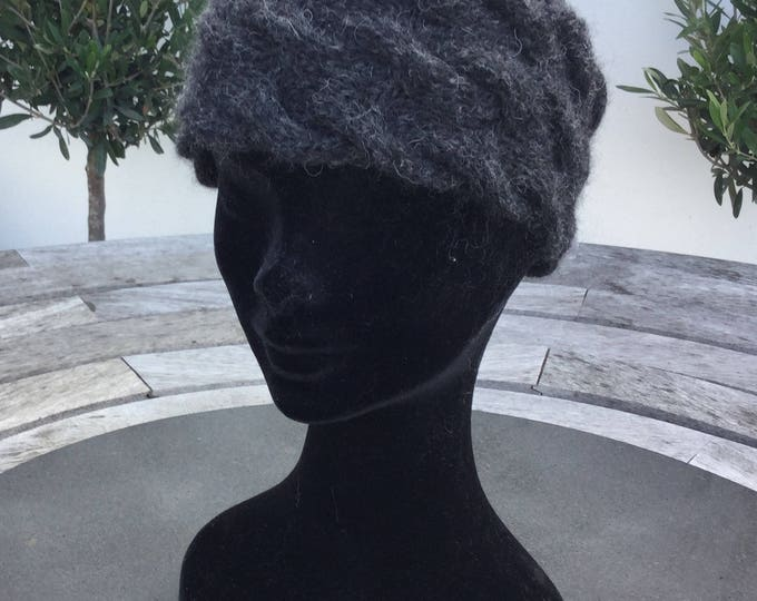 Alpaca headband, ear warmer in charcoal / black by Willow Luxury