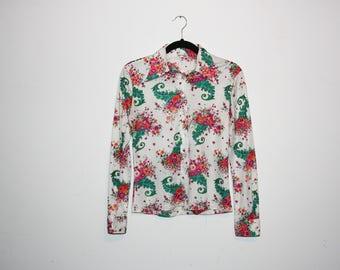 VINTAGE 70's Floral Long Sleeve Top