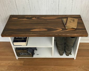 Rustic Entryway Bench with Shelves, Solid Wood Entryway Organizer, Shoe Rack, Shoe Organizer, Storage Bench, Shoe Bench, Rustic bench, Bench
