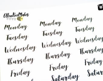 Days of the Week (Hand Lettering Effect) Stickers