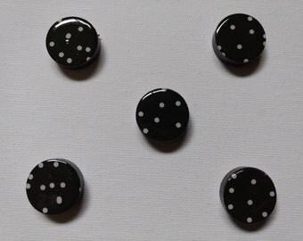 Black & White Polka-Dot Magnet Set