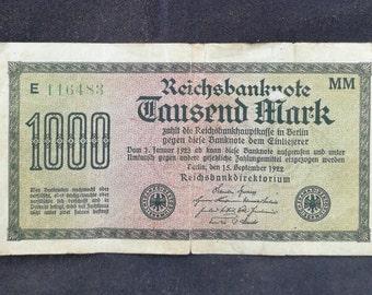 1922 Reichsbanknote - 1000 Mark 15 September 1922 - Reichsbanknote Tausend Mark September 1922. 1922 1000 Mark