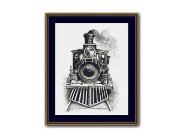 Steam Locomotive Counted Cross Stitch Pattern / Chart,  Instant Digital Download   (AP242)