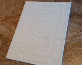 White Leaves Fabric Covered Travel Sketchbook
