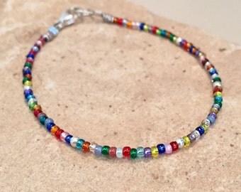 Multicolored bracelet,Toho seed bead bracelet, Hill Tribe silver bracelet, tiny bracelet, sterling silver bracelet, gift for her, boho style