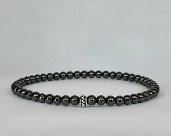 Men's hematite bracelet with a bali sterling silver bead