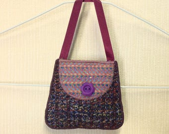 Welsh tweed lavender bag, lavender sachet in purple and lilac with a purple ribbon handle
