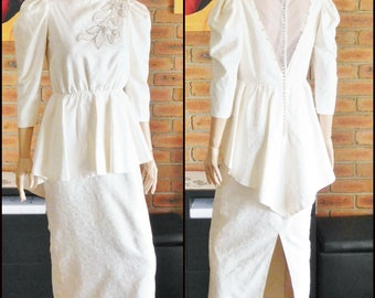 Rapsimo vintage 1980s designer heavy ivory silk wedding dress, bridal gown, peplum style, pearl buttons, size 8