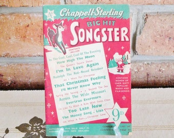 Chappell-Sterling Big Hit Songster booklet, Christmas theme, early 1950s, vintage lyrics, sing-a-long