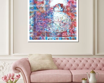 Red Blue Giclée Wall Art Abstract Art Canvas Painting Print Modern Art Print Painting Gicle Painting Print Original Art Luxury Home Wall