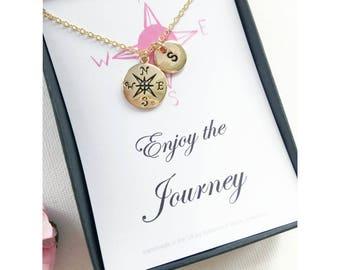 Gold compass necklace, journey necklace, graduation gift, travel necklace, good luck, compass necklace, bon voyage gift, MCJGFCOMEJ1