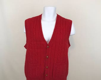 Vintage Gant Shetland Wool Sweater Vest Men's Size L, Red Button Up Sweater Vest With Brown Leather Buttons,  Hipster Sweater Vest