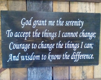 Large Wood Sign, The Serenity Prayer, Inspirational, AA Version