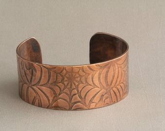 Copper Cuff, Copper Bangle, Copper Bracelet, Cuff Bangle, Spiderweb Cuff, Textured Cuff, Patterned Cuff, Halloween Cuff