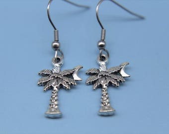 Silver Palm Tree  Charm Earrings  Palmetto Palm Tree with Crescent Moon Charm  Coconut Tree Charm Personalized Necklace