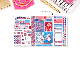 Happy 4th Of July Pocket Travelers Notebook Stickers, Jully, Summer  Sticker Insert, Planner Stickers