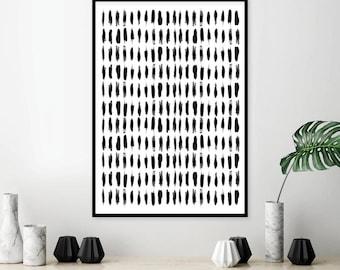 Downloadable art print Scandinavian printable Modern minimalist Black White Monochrome Brushstrokes Poster Wall Decor Affiche Scandi Digital