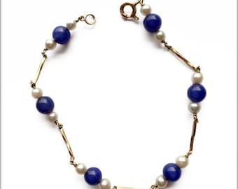 Vintage 9ct Gold, Lapis and Pearl Bracelet