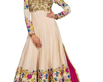 Indian Pakistani Designer Cream Colored Net Salwar suit Anarkali Salwar Suit Salwar Kameej Formal Suit Party WearSuit