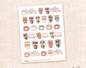 Fall coffee time - sticker sampler - 25 cute, hand-drawn planner stickers