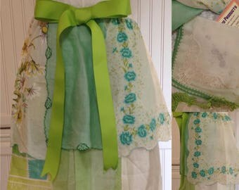 Vintage half apron handkerchief shabby chic Aqua lime teal white lime grosgrain ribbon extra long ties embroidered hanky hidden pockets