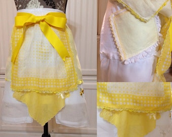 Vintage half apron handkerchief shabby chic white and yellow bright yellow grosgrain ribbon long ties embroidered  hankies hidden pockets