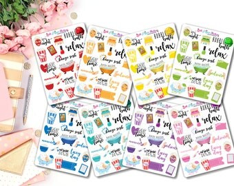 Me Time / Self Care / Lazy Day Samplers - Multicolor - set of 24 stickers for your Erin Condren, Happy Planner, or Travelers Notebook!