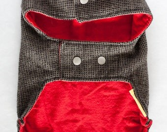 SM dog coat with collar // Classic jacket for a small dog in black and beige checkered wool with red flannel lining and snap closures