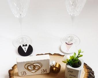 Bride and groom table - Bride and groom table decor - Bride and groom table decorations - Wine glass charms - Mini planter - Wedding decor