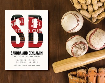 Wrigley Field Chicago Photo Monogram DIY Printable Save the Date Card