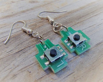 Earrings REcycled from Circuit Board. Stamped (L) left & (R). Real buttons can be pushed! How cool. Funky. Fun Jewelry. FREE SHIP to U.S.!