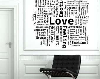 Wall Vinyl Decal Word Cloud Passion Love Empathy Gratefulness Heart Decor for Living room (#2656dn)