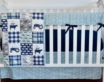 farm life in dusty blue, navy bedding, plaid bedding, baby boy, tractor, farmer, cows, pig, horse, barn, farm nursery