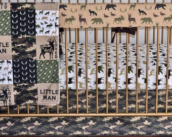 4 OR 5 PIECE SET - Camouflage crib bedding, Lumberjack, camo,  woodland nursery,  modern nursery, quilt, bumpers, deer, skirt