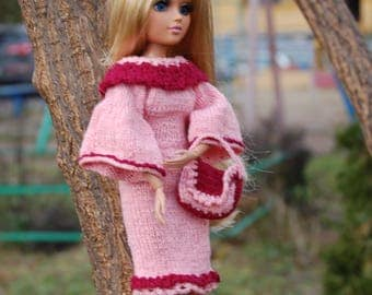 Hand Knitted Outfit for Moxie Teenz Dress for doll Bag for doll Nice handmade dress doll  size 14 inch clothes for dolls Moxie Teenz doll