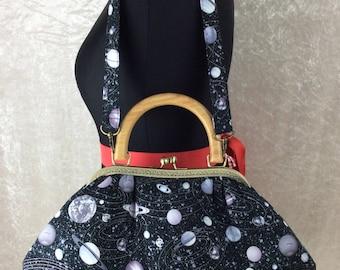 Planets Stars Space Betty frame bag wooden handle purse handbag handmade in England