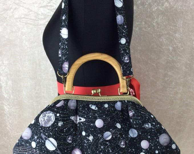 Planets Stars Space Betty frame bag wooden handle purse handbag handmade in England