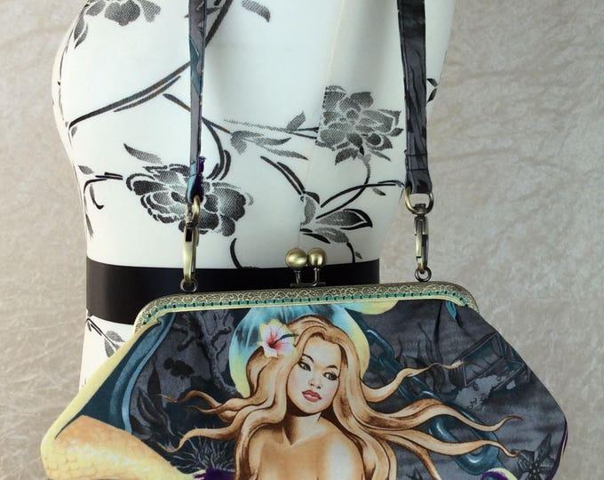 Sea Sirens Mermaid Grace frame handbag purse clutch bag fabric Alexander Henry handmade in England