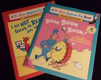 1995 Dr. Seuss Beginner Fun Book, 2 Book Set Preschool thru Kindergarten - NEW with Stickers