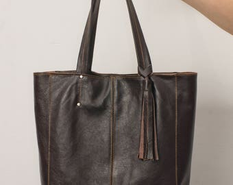 Woman handbag, tote genuine leather, woman bag, giant tote, brown tote, whiskey, cognac, soft hobo shopper, leather shopper, everyday casual