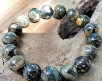 Dark Green Ocean Jasper Bracelet with Lots of Pattern and Colorful Golden, Red and White Orbs, Great gift for him