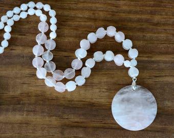 Rose Quartz Pendant Necklace, Quartz Necklace, Rose Quartz, Pendant Necklace, Gemstone Necklace, Boho Necklace, Gift for her