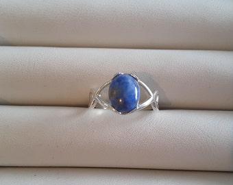 Lapis swirl silver ring