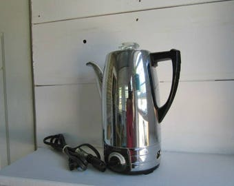 Vintage chrome, electric, Sunbeam percolator, 8 cup stainless steel