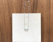 Light Blue Faceted Aquamarine with Sterling Silver Chain Short Necklace, Minimalist Hand Hammered Horseshoe Necklace, Lightweight Necklace