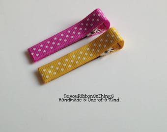 Pink Yellow Dots | Hair Clips for Girls | Toddler Barrette | Kids Hair Accessories | Grosgrain Ribbon | No Slip Grip