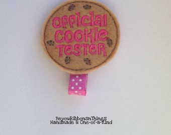 Official Cookie Tester | Hair Clips for Girls | Toddler Barrette | Kids Hair Accessories | Grosgrain Ribbon | Felties No Slip Grip