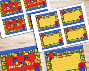 Lego DIY Invitations, Lego Invite, Lego Invites, Lego Invitation, Invitation Lego, Lego Printable, Lego Birthday, Lego Party *DIGITAL FILES*