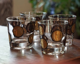 Set of 4 Vintage Lowball Glasses/Coins Around the World/ Libbey Glasses/ Mad Men Glasses/ Mid Century Modern